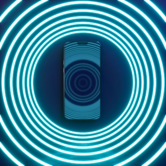 Smartphone with neon light circles