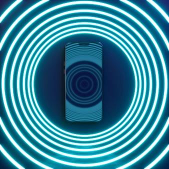 Smartphone con cerchi di luce al neon