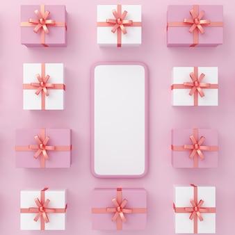분홍색 배경 위에 있는 선물 상자의 패턴이 있는 스마트폰. 3d 그림입니다.
