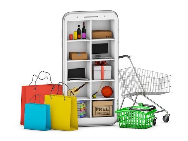 Смартфон с полками, на которых есть разные вещи. концепция покупок в интернете на смартфоне. 3d визуализация.