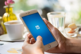 Smartphone with social network service LinkedIn on the screen