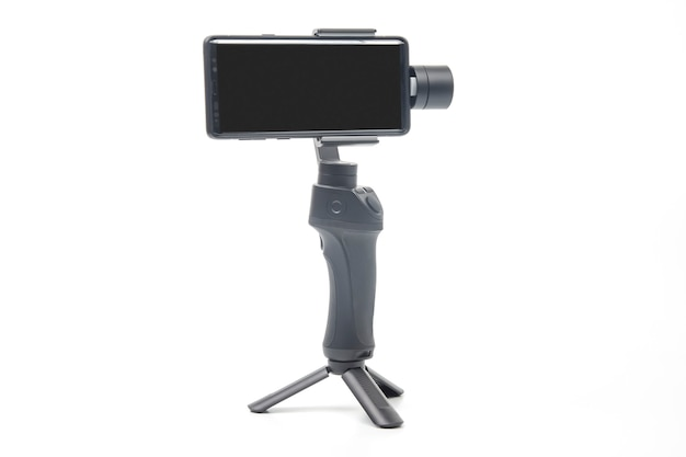 Smartphone with stabilizer on white