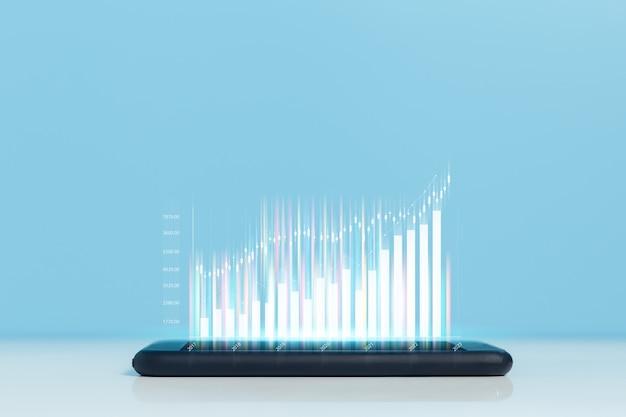 取引グラフ付きスマートフォン。証券取引所マーケティング分析チャート。情報統計図利益。投資とマーケティングの概念。