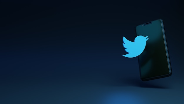 트위터 아이콘 3d 렌더링 개념이 있는 스마트폰
