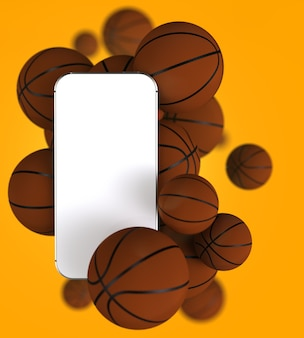 Smartphone with white blank screen and basketballs