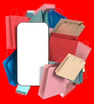 Smartphone with white blank screen and many color paper shopping bags
