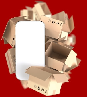Smartphone with white blank screen and many paper boxes