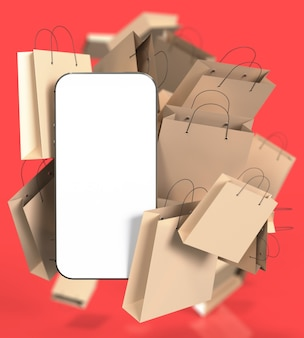 Smartphone with white blank screen and many paper shopping bags