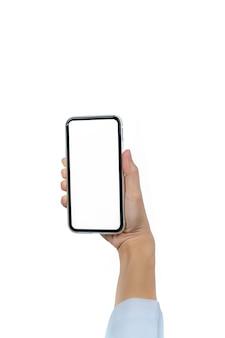 Женская рука смартфон. рука доктора крупного плана держа smartphone с пустым экранным дисплеем изолированный. мобильный телефон с пустым экраном.