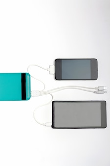 Smartphones are charging with power bank