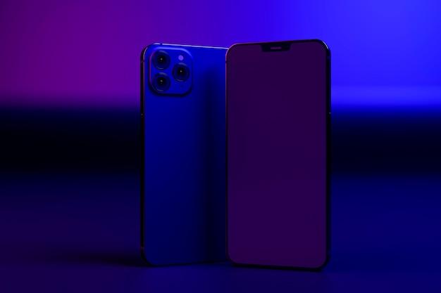 カラフルな光の中でのスマートフォンの配置