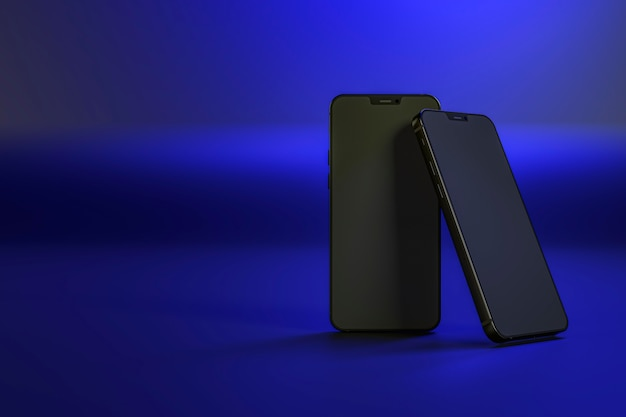 Smartphones on dark blue background