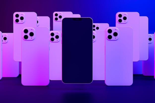 カラフルな光の中でスマートフォンのデザイン