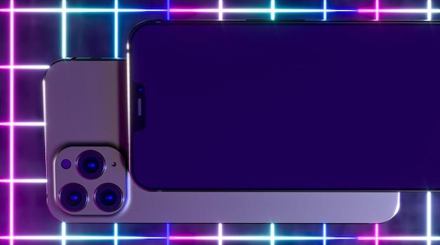 Смартфоны с неоновым светом вид сверху