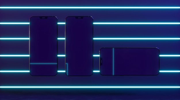 Smartphones with neon light above view