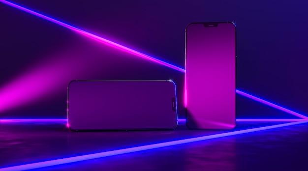 Smartphones with neon lines