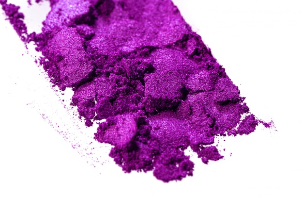 Smashed eyeshadows of bright purple color, make up concept