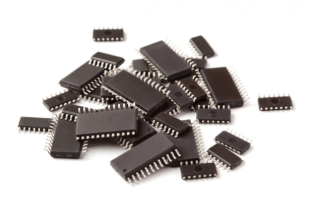 Smd electronic chips in soic case lie on top