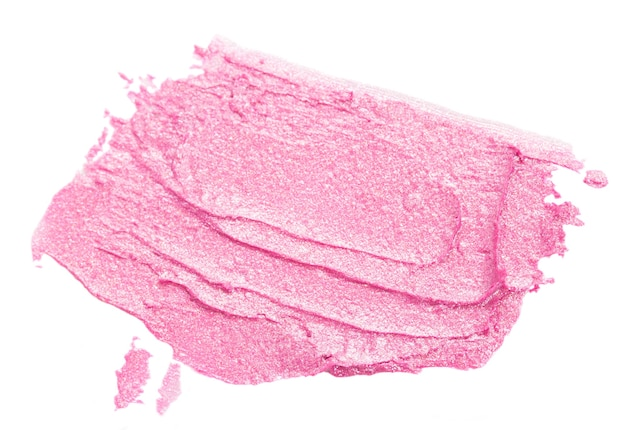 Smear of pink lipstick isolated on white