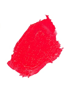 Smear of red lipstick isolated on white