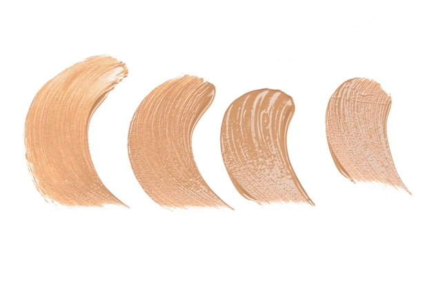 Smeared foundation natural make up on white background