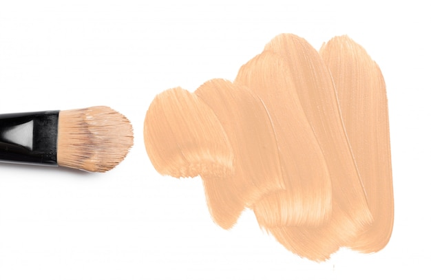 Smeared foundation natural make up on white