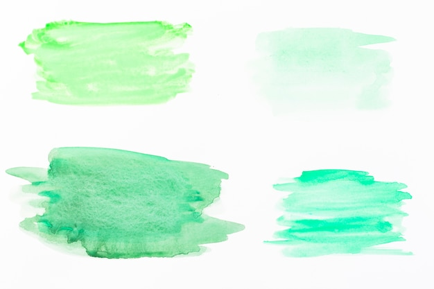 Smears of green watercolor