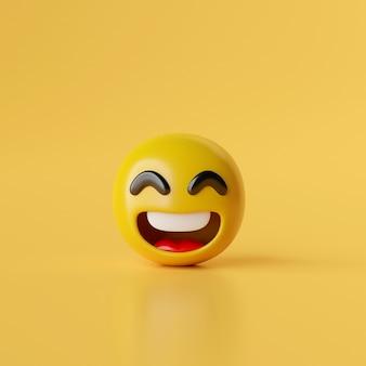Улыбка emoji значок на желтом фоне 3d иллюстрация