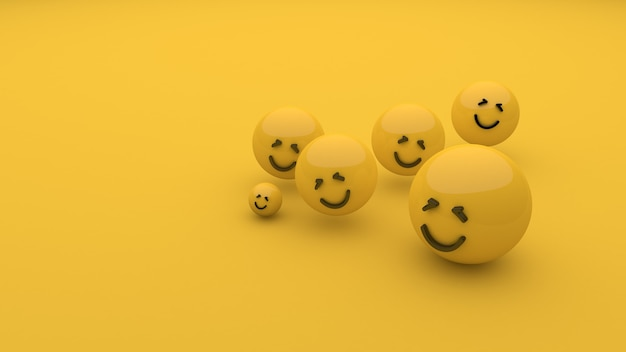 Улыбка смайликов на желтом фоне всемирный день улыбки 3d-рендеринг 3d-иллюстрация