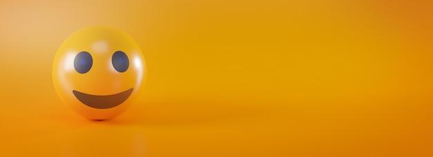 노란색 소셜 미디어 개념에 이모티콘 미소