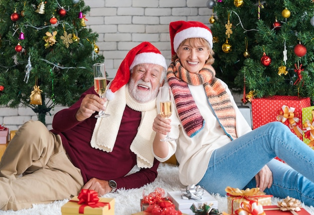 Smile senior caucasian couple in santa hat holding champagne flute or white wine glass while sitting together in front of decorated christmas tree in cozy living room celebrate christmas in winter.