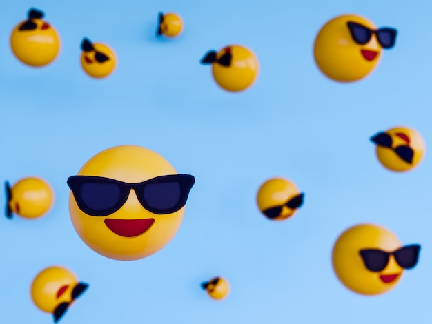 Smile yellow ball emoji . 3d render background