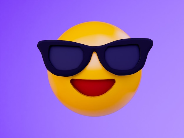 Smile yellow ball emoji . 3d render background .