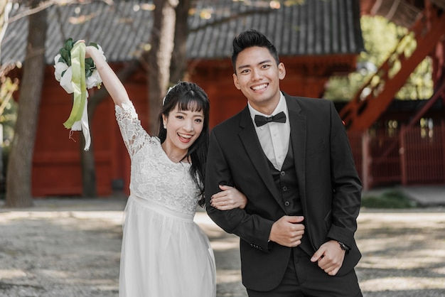 Smiley bride and groom happily married
