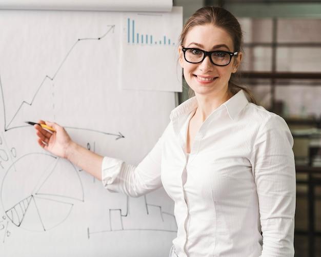 Donna di affari di smiley con gli occhiali che danno una presentazione