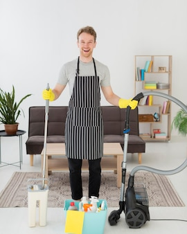 Smiley man prepared to clean