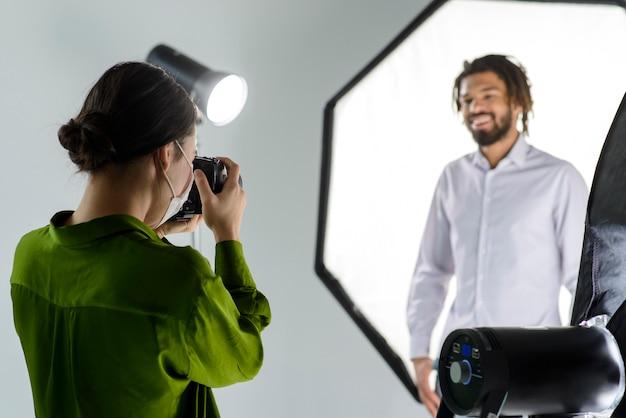 Smiley model posing in studio