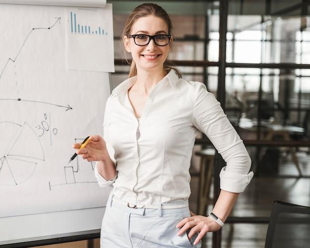 Donna di affari professionale di smiley con gli occhiali che danno una presentazione
