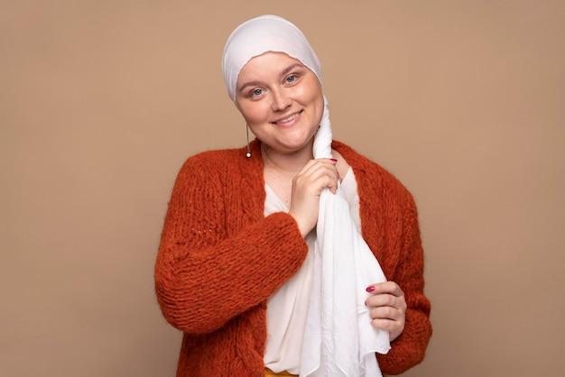乳がんと闘う笑顔の女性