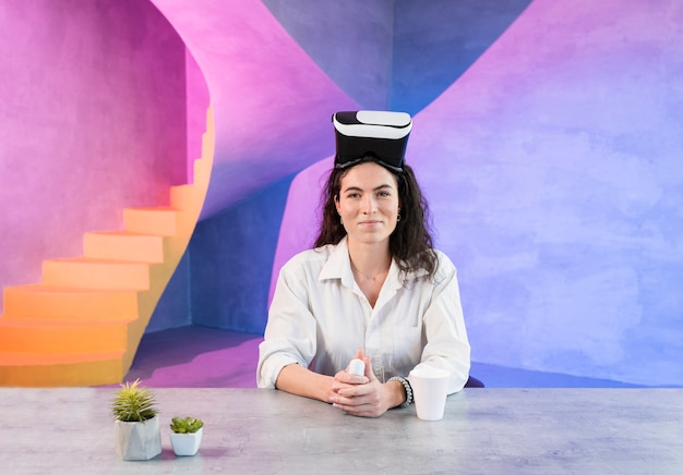Smiley woman having a vr set on her head