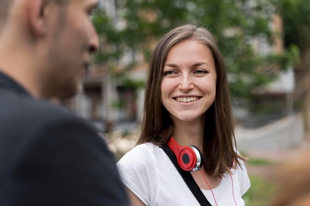 Smiley woman with headphones