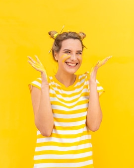 Smiley woman with painted palms