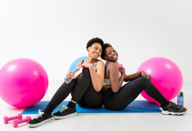 Smiley women on break from training