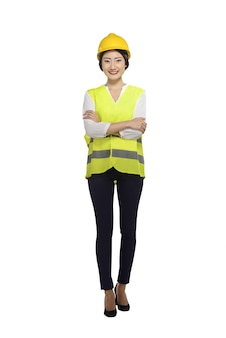 Smiling asian woman worker with hard hat