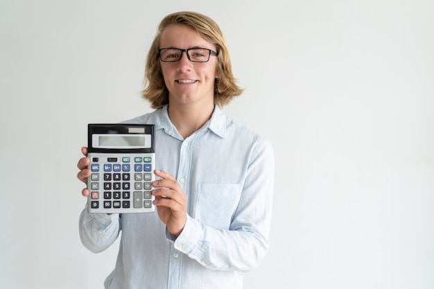 Smiling banker illustrating benefit of bank products