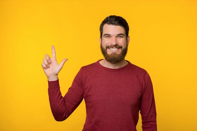 赤いセーターの笑みを浮かべてバードマンが黄色の背景にコピースペースに現れています。