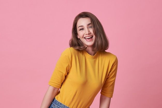 Smiling beautiful woman wearing casual t shirt