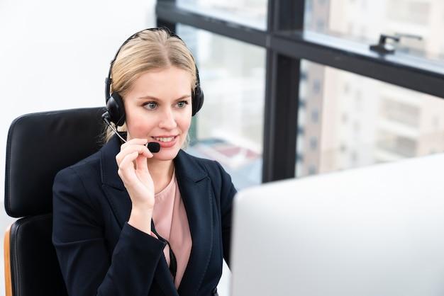 Smiling beautiful woman working care customer service