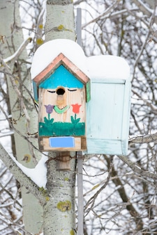 Smiling birdhouses. birdhouse in the form of a funny face on the tree. handmade wooden nesting box covered in snow. winter landscape with trees covered of the snow and copy space.