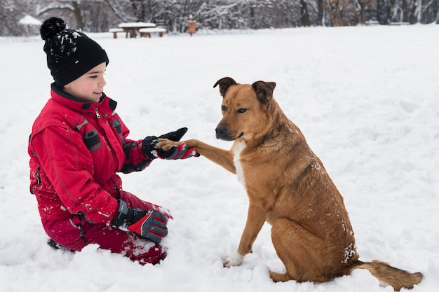 Smiling boy holding dog paw in winter season